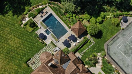 house with swimming pool landscaping